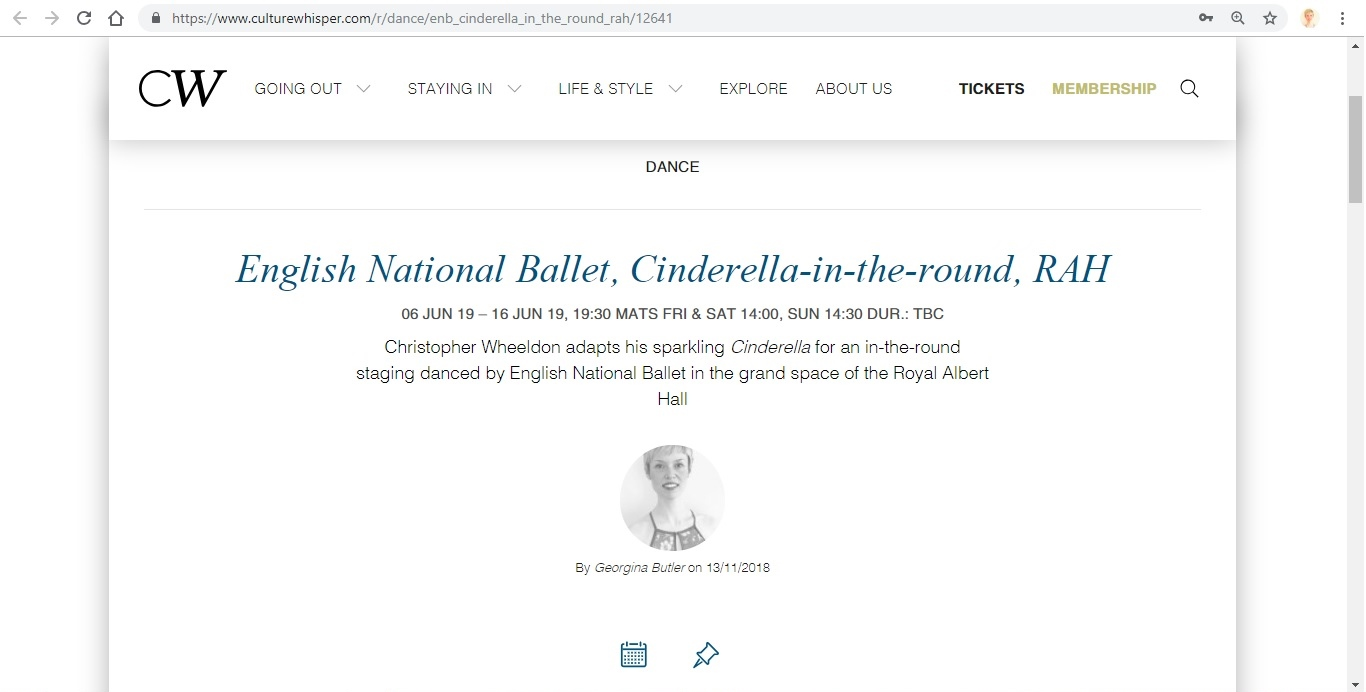 Screenshot of Culture Whisper content by Georgina Butler. Preview of English National Ballet: Cinderella in-the-round, image 1