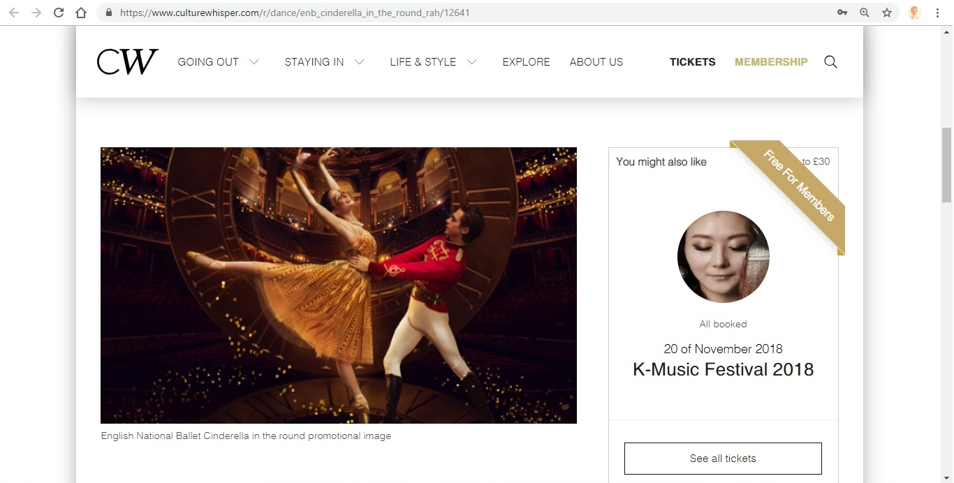 Screenshot of Culture Whisper content by Georgina Butler. Preview of English National Ballet: Cinderella in-the-round, image 2