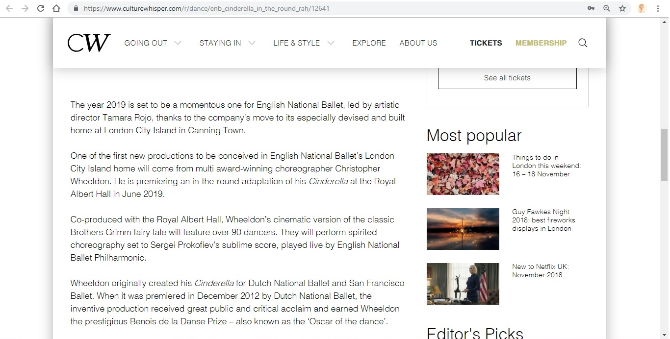Screenshot of Culture Whisper content by Georgina Butler. Preview of English National Ballet: Cinderella in-the-round, image 3