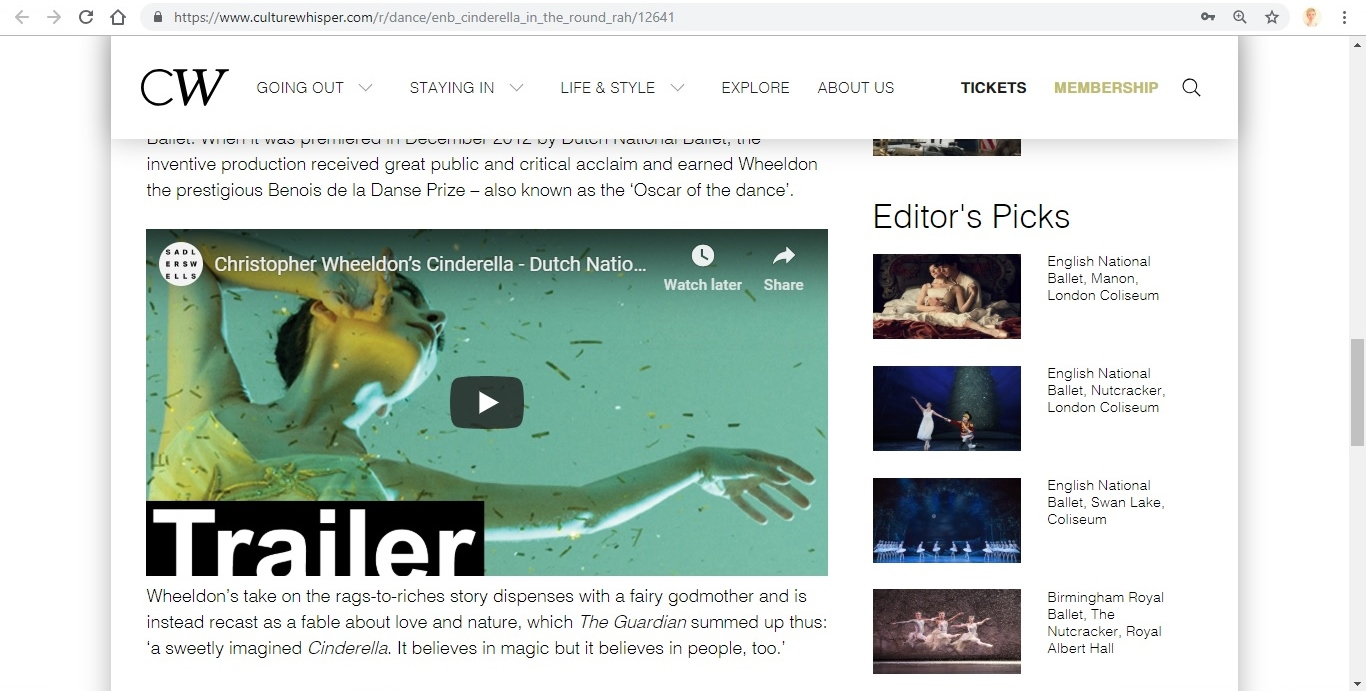 Screenshot of Culture Whisper content by Georgina Butler. Preview of English National Ballet: Cinderella in-the-round, image 4