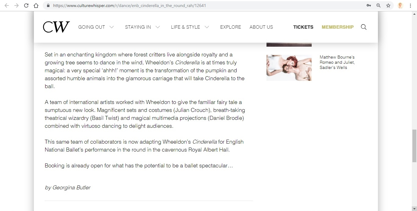 Screenshot of Culture Whisper content by Georgina Butler. Preview of English National Ballet: Cinderella in-the-round, image 5