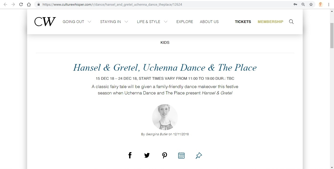 Screenshot of Culture Whisper content by Georgina Butler. Preview of Uchenna Dance and The Place: Hansel and Gretel, image 1