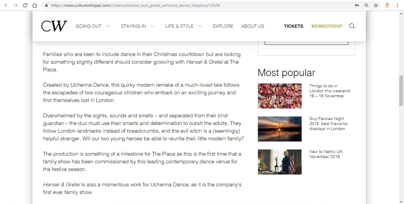 Screenshot of Culture Whisper content by Georgina Butler. Preview of Uchenna Dance and The Place: Hansel and Gretel, image 3