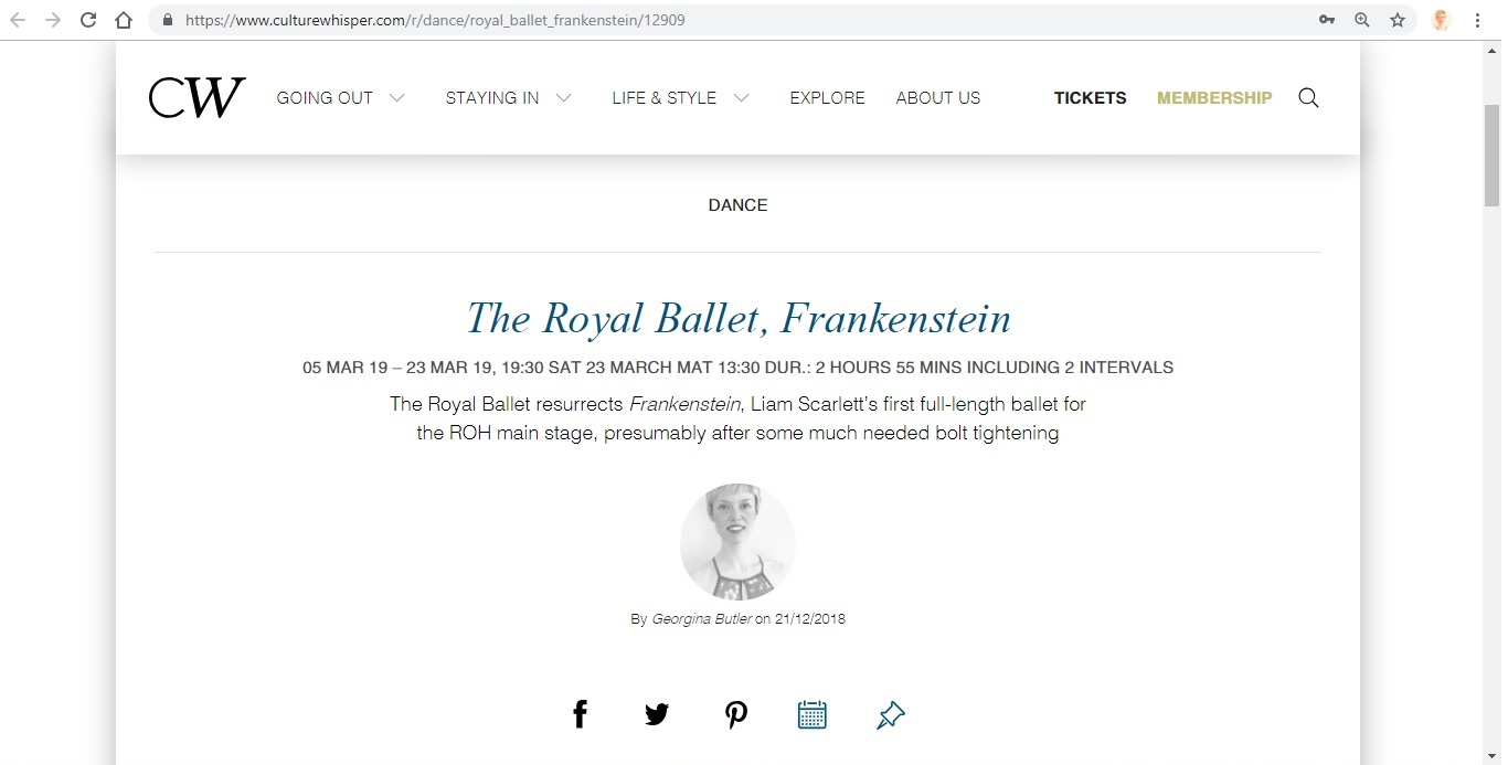 Screenshot of Culture Whisper content by Georgina Butler. Preview of The Royal Ballet: Frankenstein, image 1