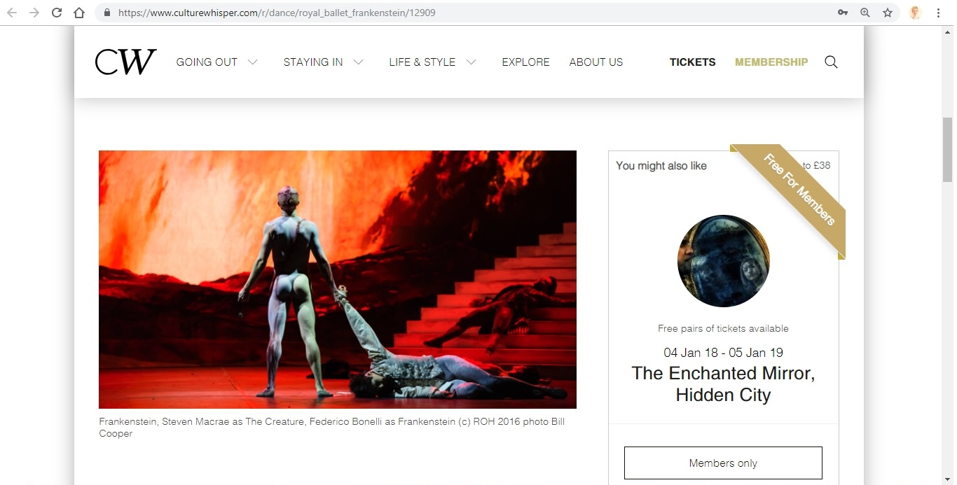 Screenshot of Culture Whisper content by Georgina Butler. Preview of The Royal Ballet: Frankenstein, image 2