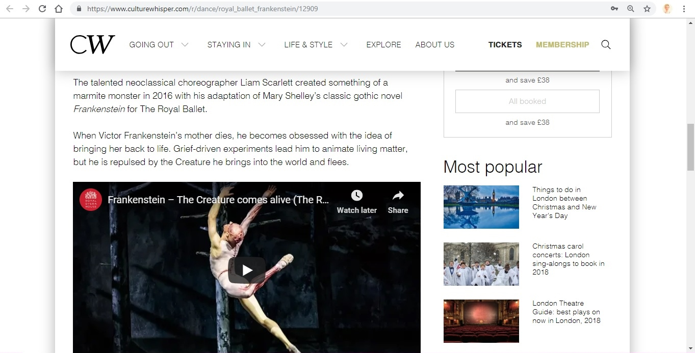 Screenshot of Culture Whisper content by Georgina Butler. Preview of The Royal Ballet: Frankenstein, image 3