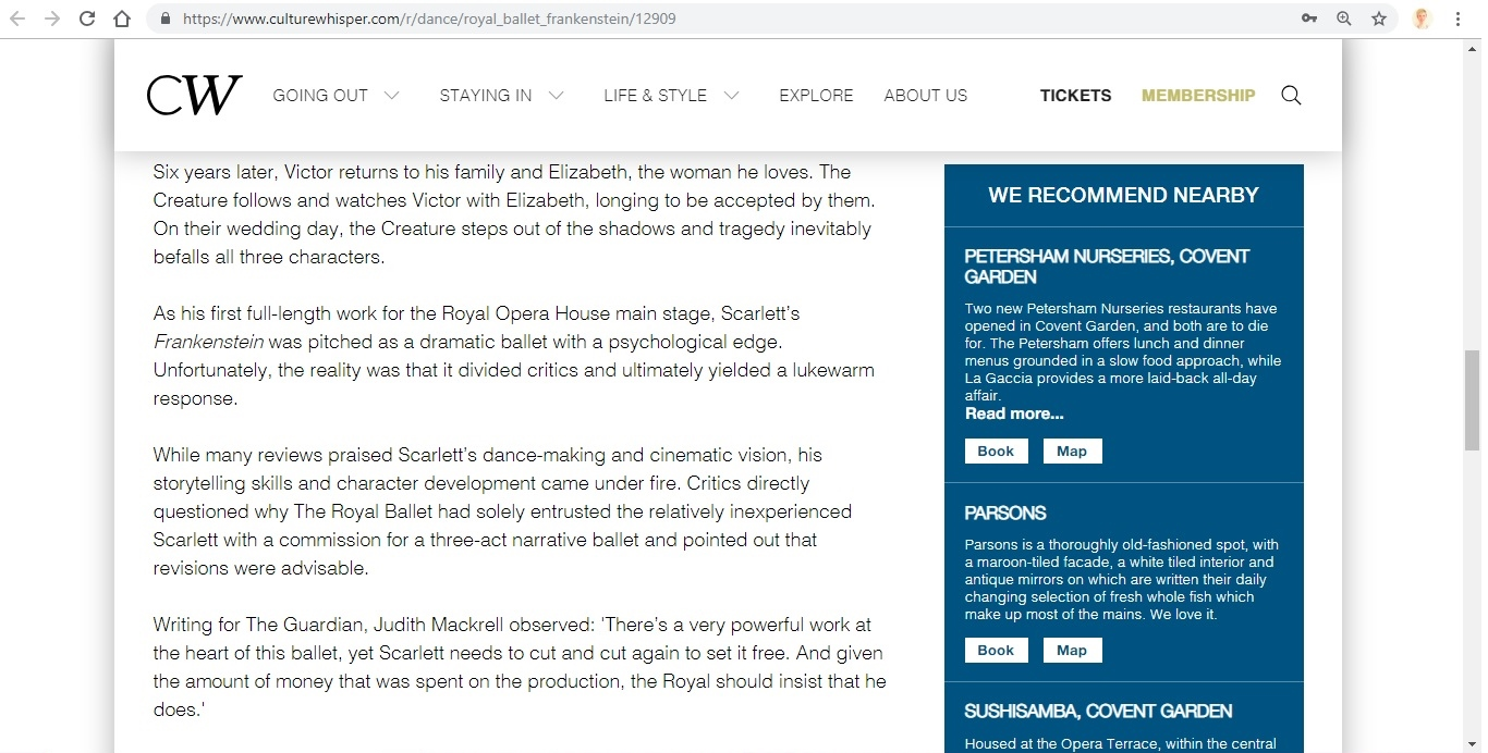 Screenshot of Culture Whisper content by Georgina Butler. Preview of The Royal Ballet: Frankenstein, image 4