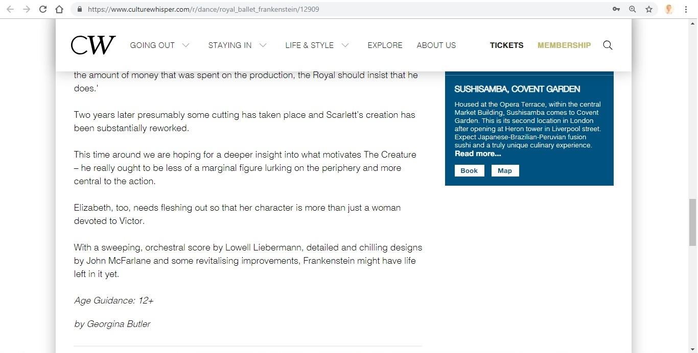 Screenshot of Culture Whisper content by Georgina Butler. Preview of The Royal Ballet: Frankenstein, image 5