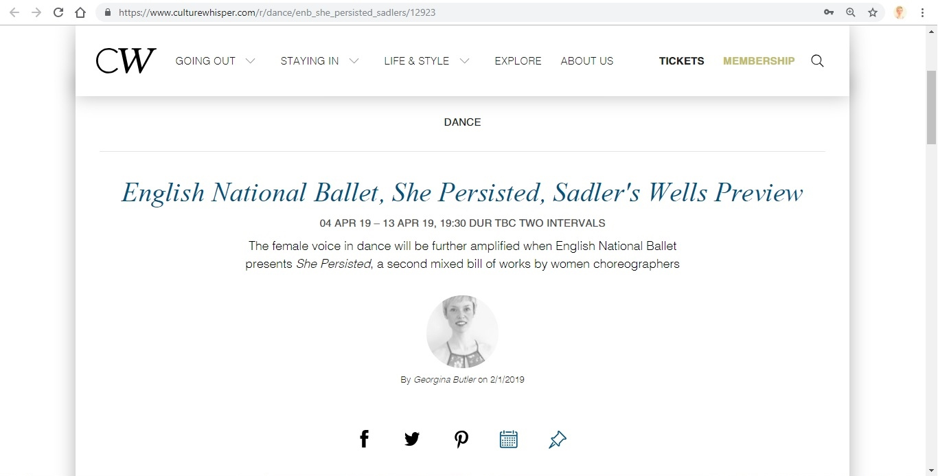 Screenshot of Culture Whisper content by Georgina Butler. Preview of English National Ballet: She Persisted, image 1