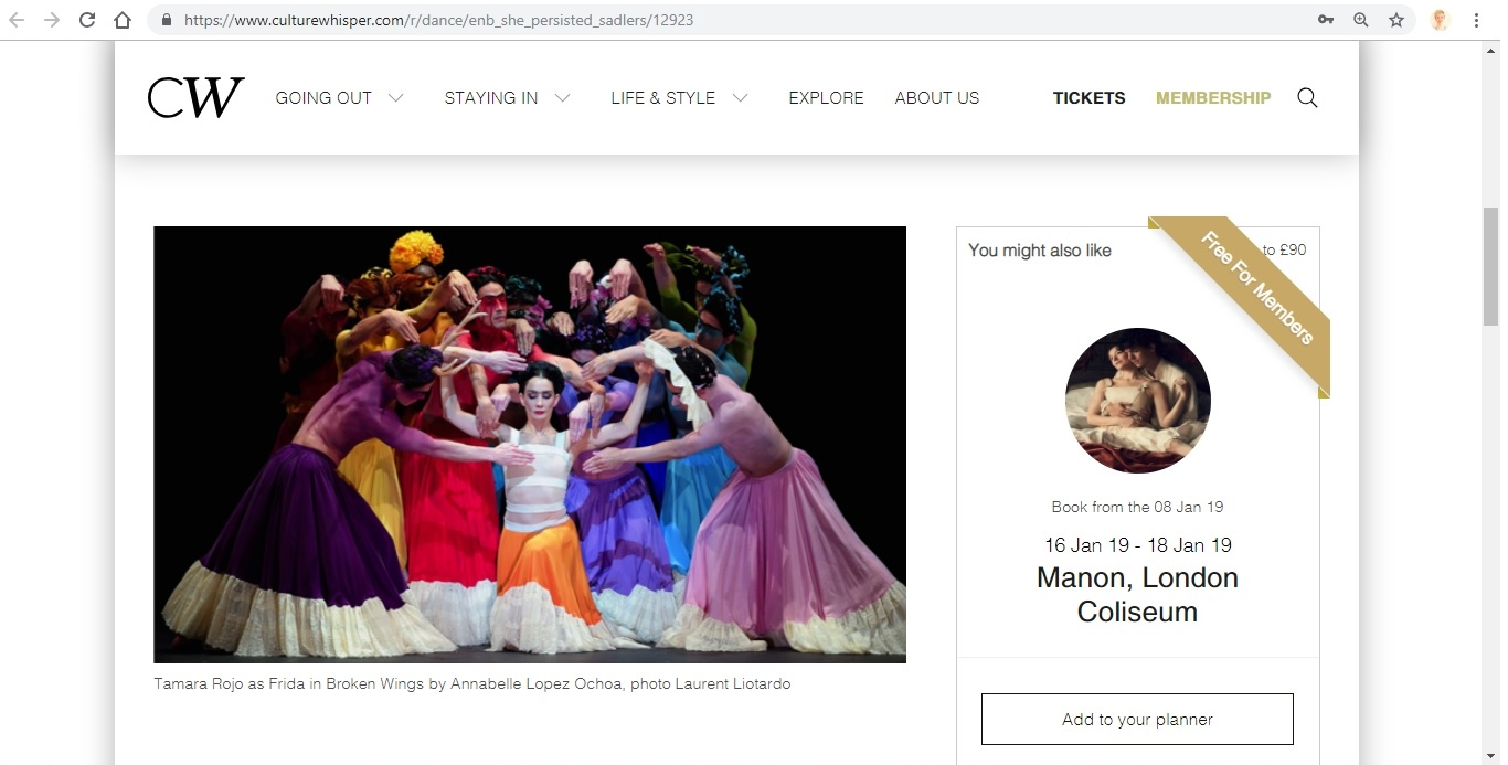 Screenshot of Culture Whisper content by Georgina Butler. Preview of English National Ballet: She Persisted, image 2