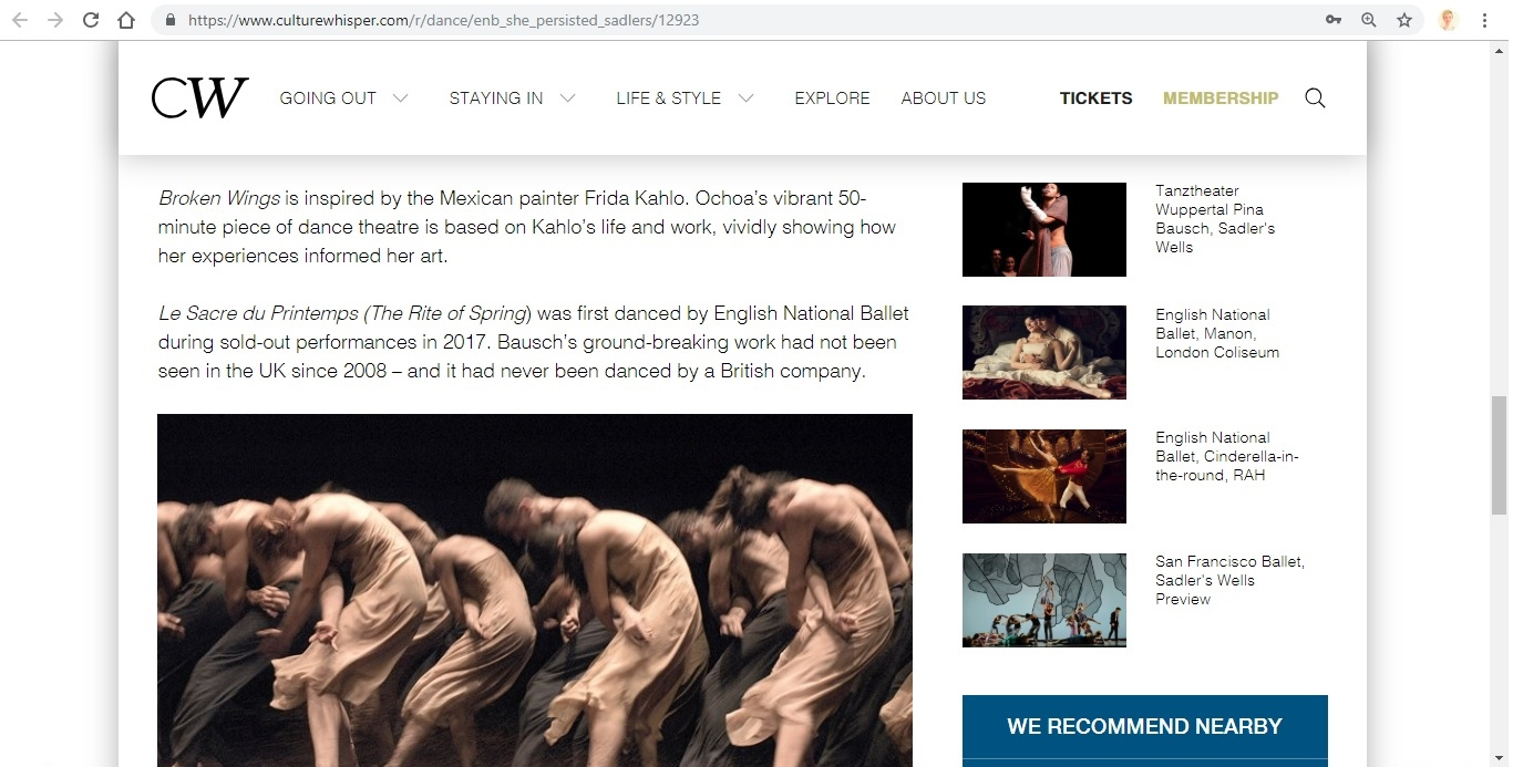 Screenshot of Culture Whisper content by Georgina Butler. Preview of English National Ballet: She Persisted, image 4