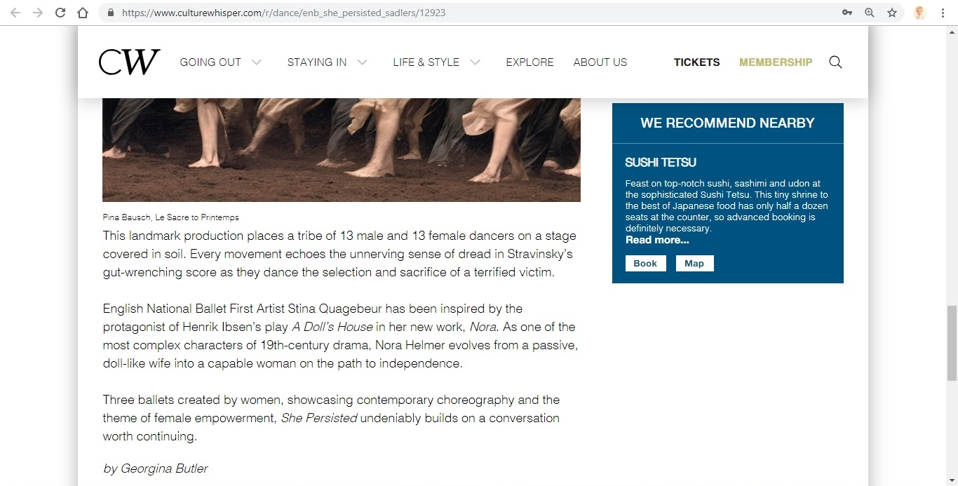 Screenshot of Culture Whisper content by Georgina Butler. Preview of English National Ballet: She Persisted, image 5