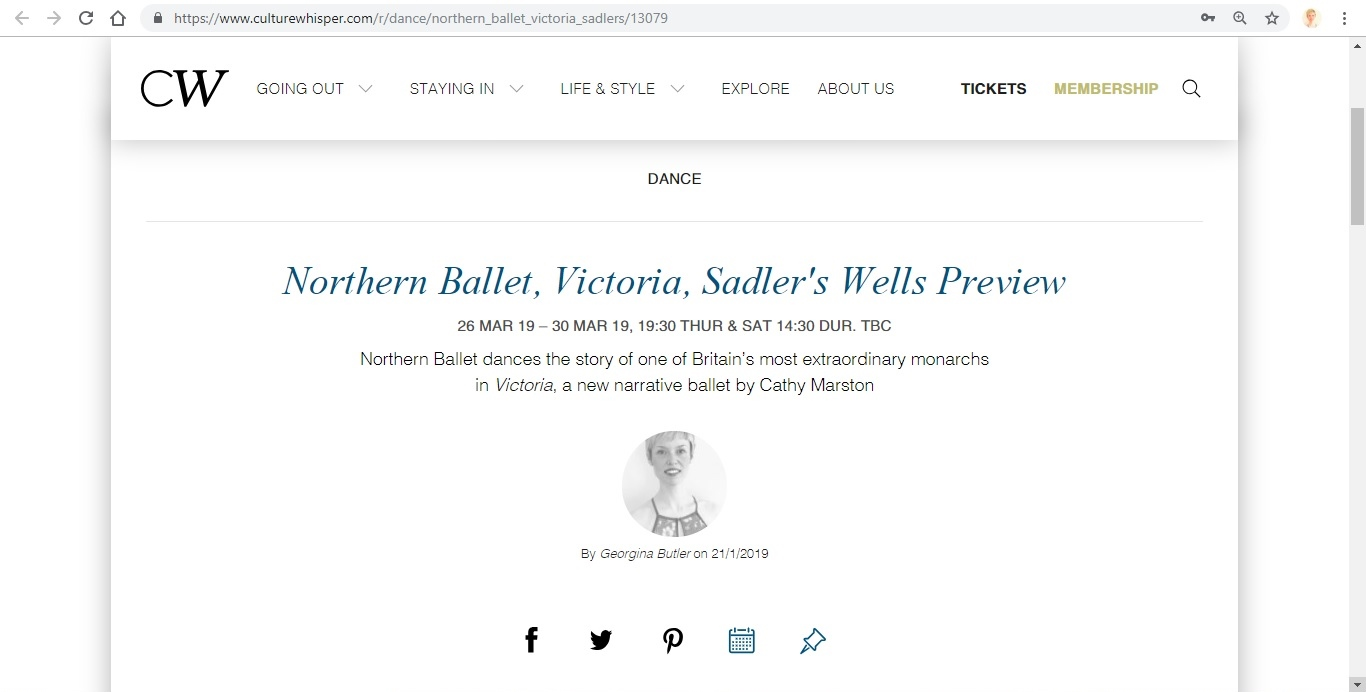 Screenshot of Culture Whisper content by Georgina Butler. Preview of Northern Ballet: Victoria, image 1
