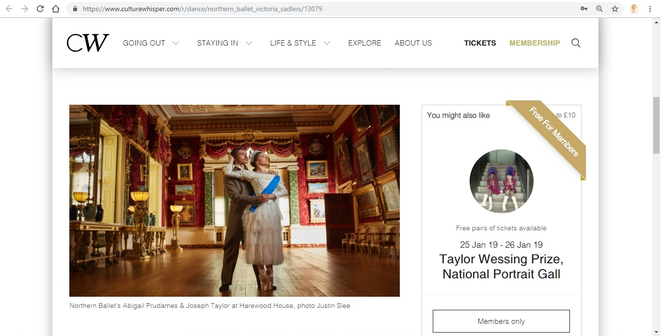 Screenshot of Culture Whisper content by Georgina Butler. Preview of Northern Ballet: Victoria, image 2