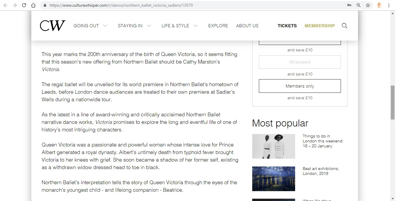 Screenshot of Culture Whisper content by Georgina Butler. Preview of Northern Ballet: Victoria, image 3