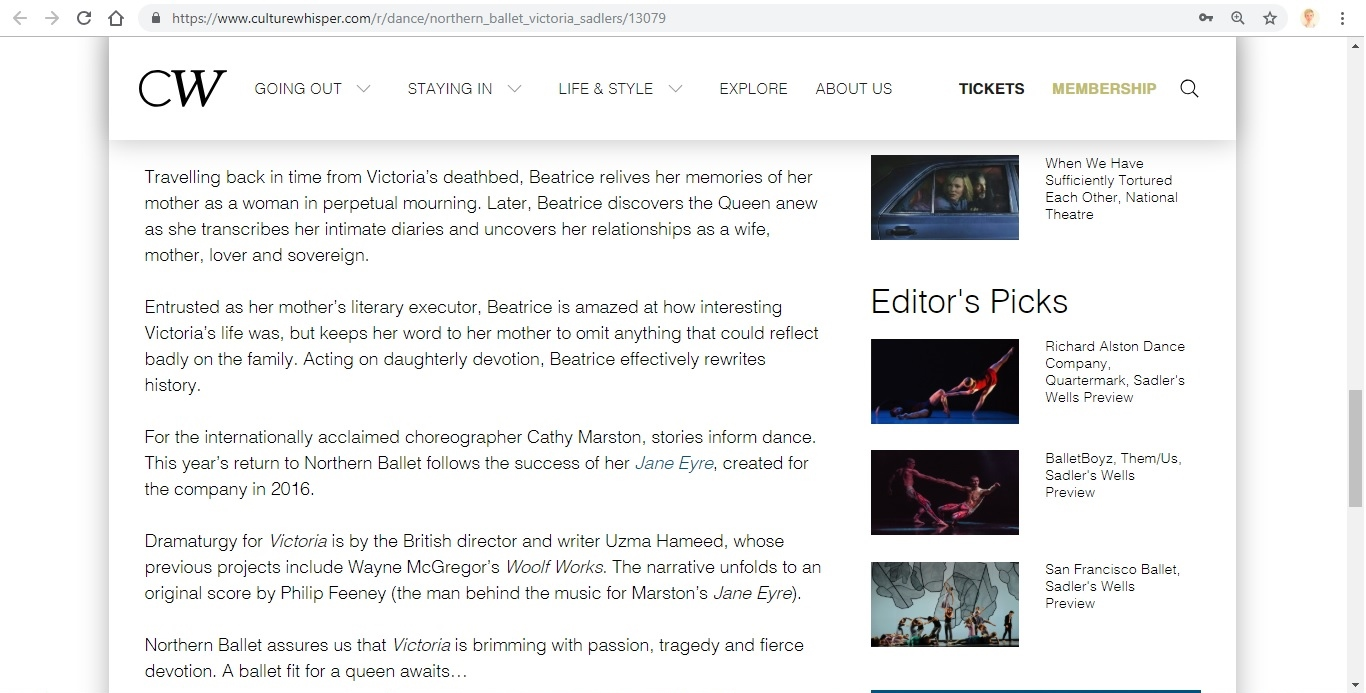 Screenshot of Culture Whisper content by Georgina Butler. Preview of Northern Ballet: Victoria, image 4