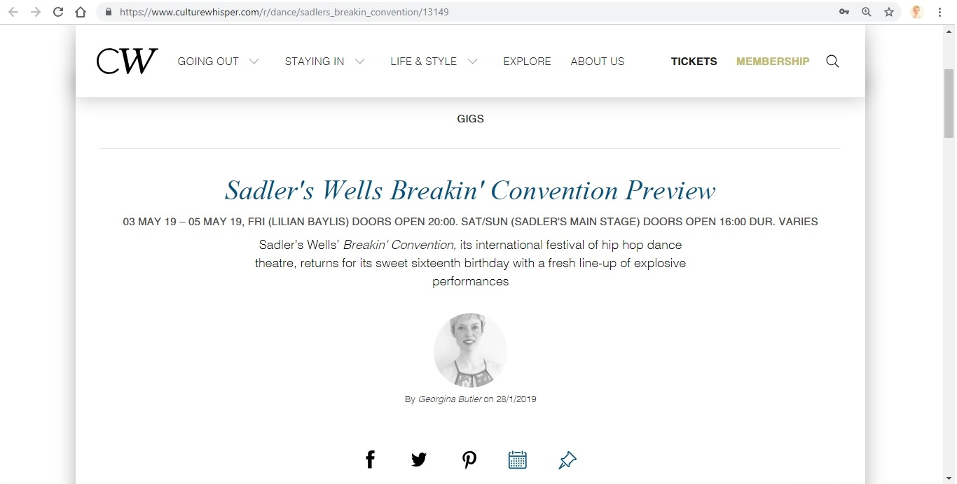 Screenshot of Culture Whisper content by Georgina Butler. Preview of Sadler's Wells: Breakin' Convention, image 1