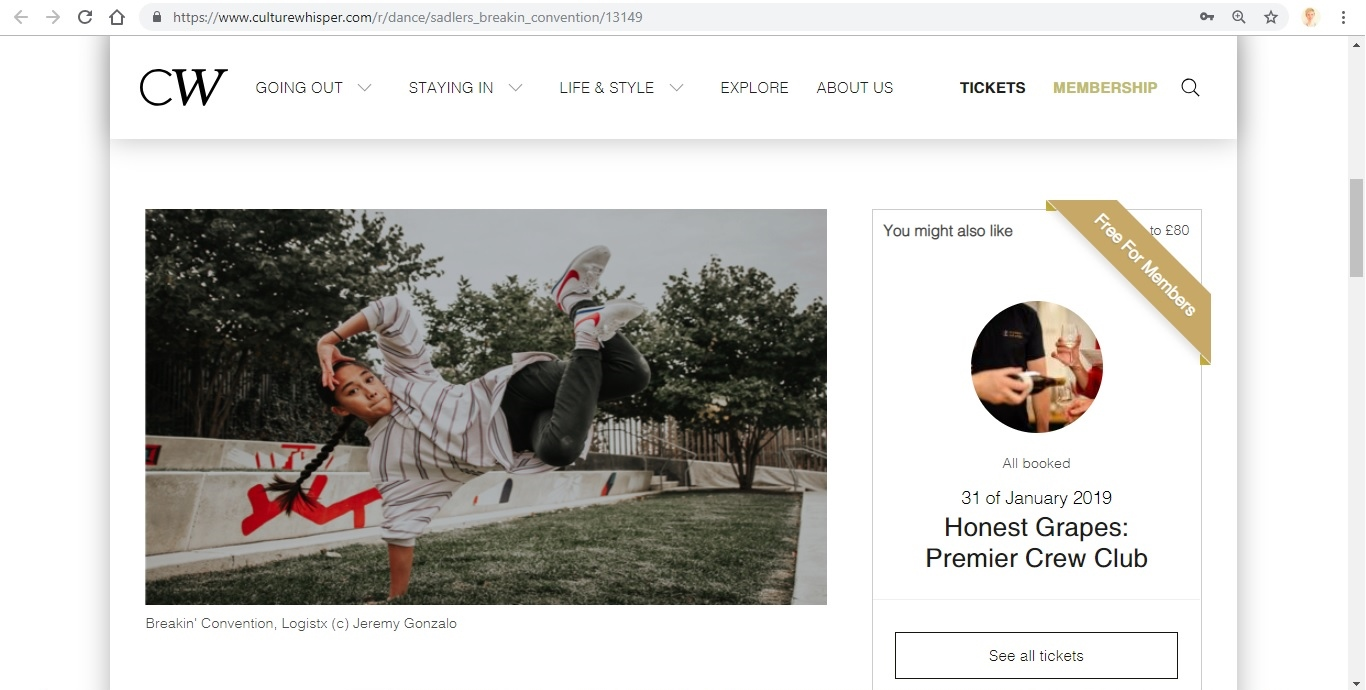 Screenshot of Culture Whisper content by Georgina Butler. Preview of Sadler's Wells: Breakin' Convention, image 2