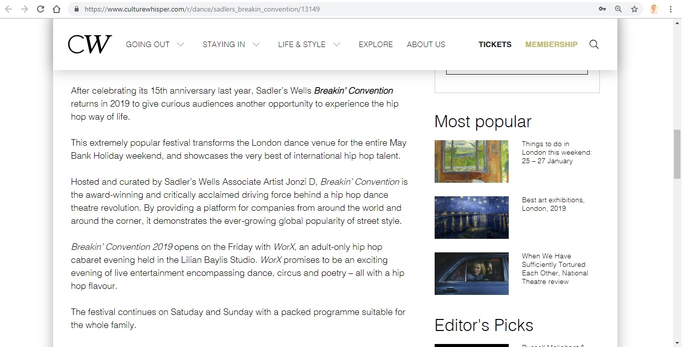 Screenshot of Culture Whisper content by Georgina Butler. Preview of Sadler's Wells: Breakin' Convention, image 3
