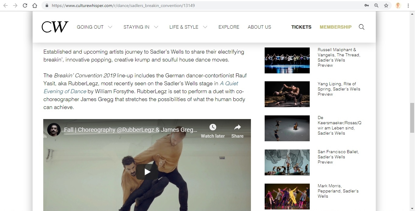 Screenshot of Culture Whisper content by Georgina Butler. Preview of Sadler's Wells: Breakin' Convention, image 4