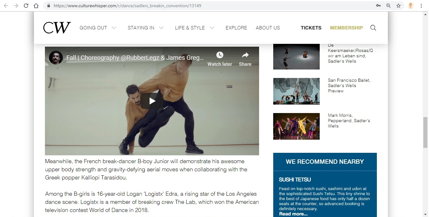 Screenshot of Culture Whisper content by Georgina Butler. Preview of Sadler's Wells: Breakin' Convention, image 5