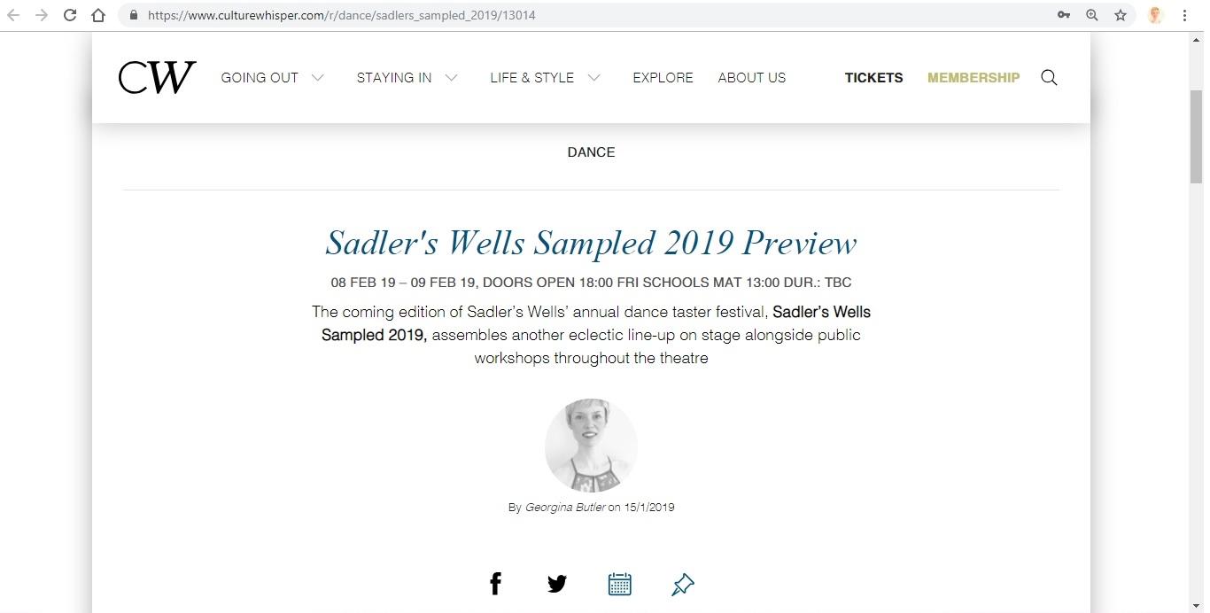Screenshot of Culture Whisper content by Georgina Butler. Preview of Sadler's Wells Sampled 2019, image 1