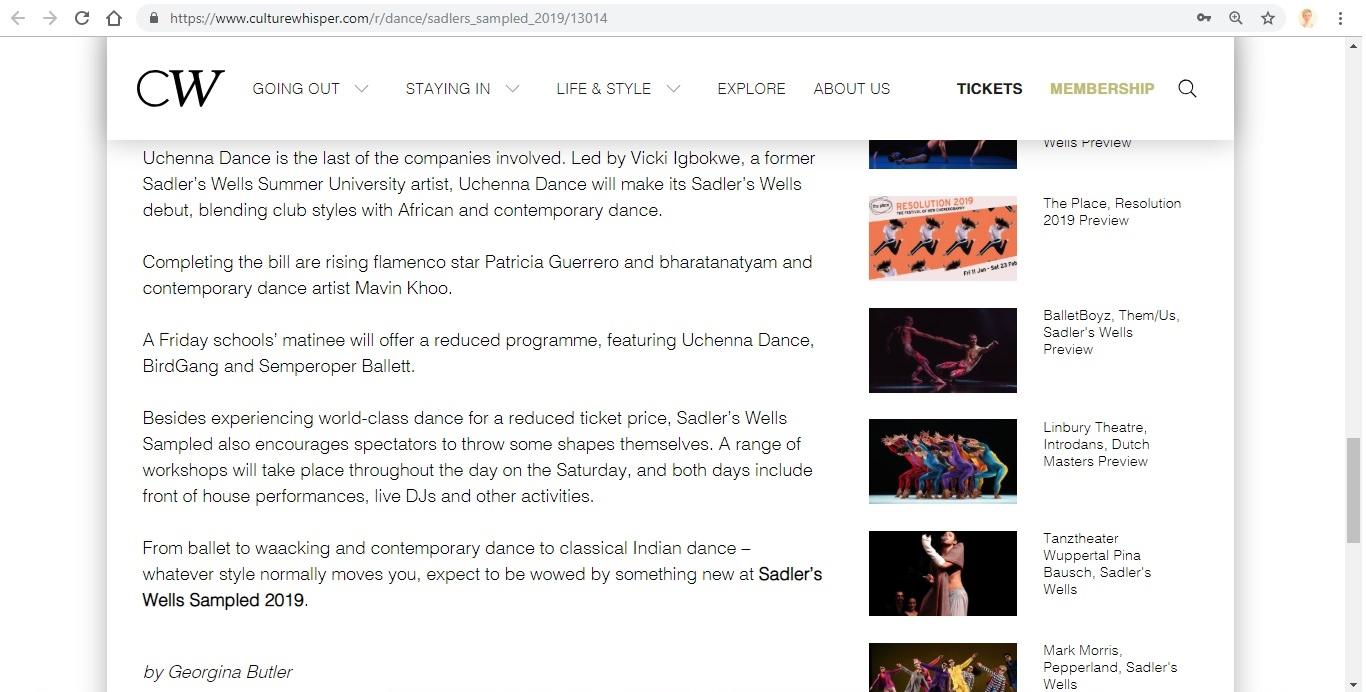 Screenshot of Culture Whisper content by Georgina Butler. Preview of Sadler's Wells Sampled 2019, image 5