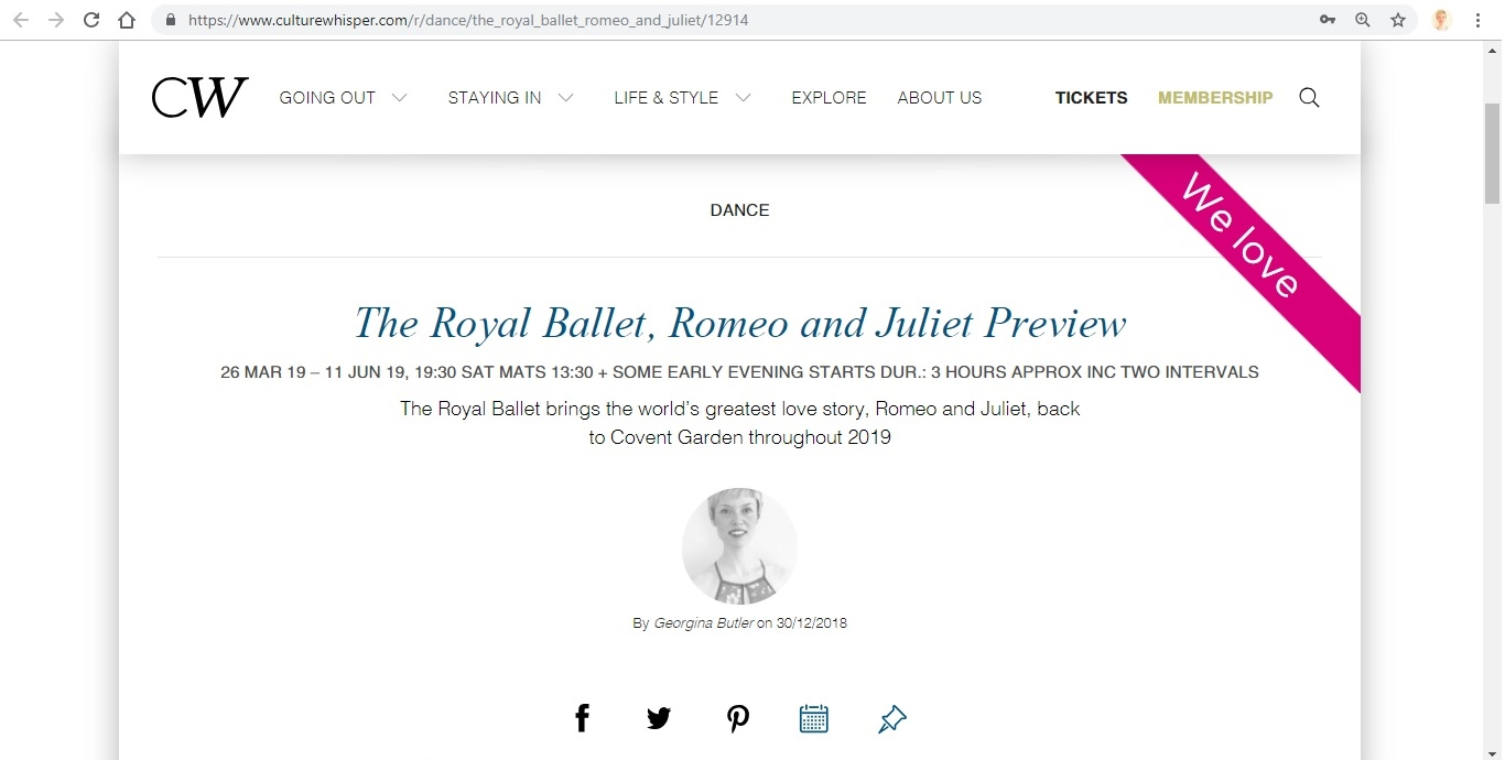 Screenshot of Culture Whisper content by Georgina Butler. Preview of The Royal Ballet: Romeo and Juliet, image 1