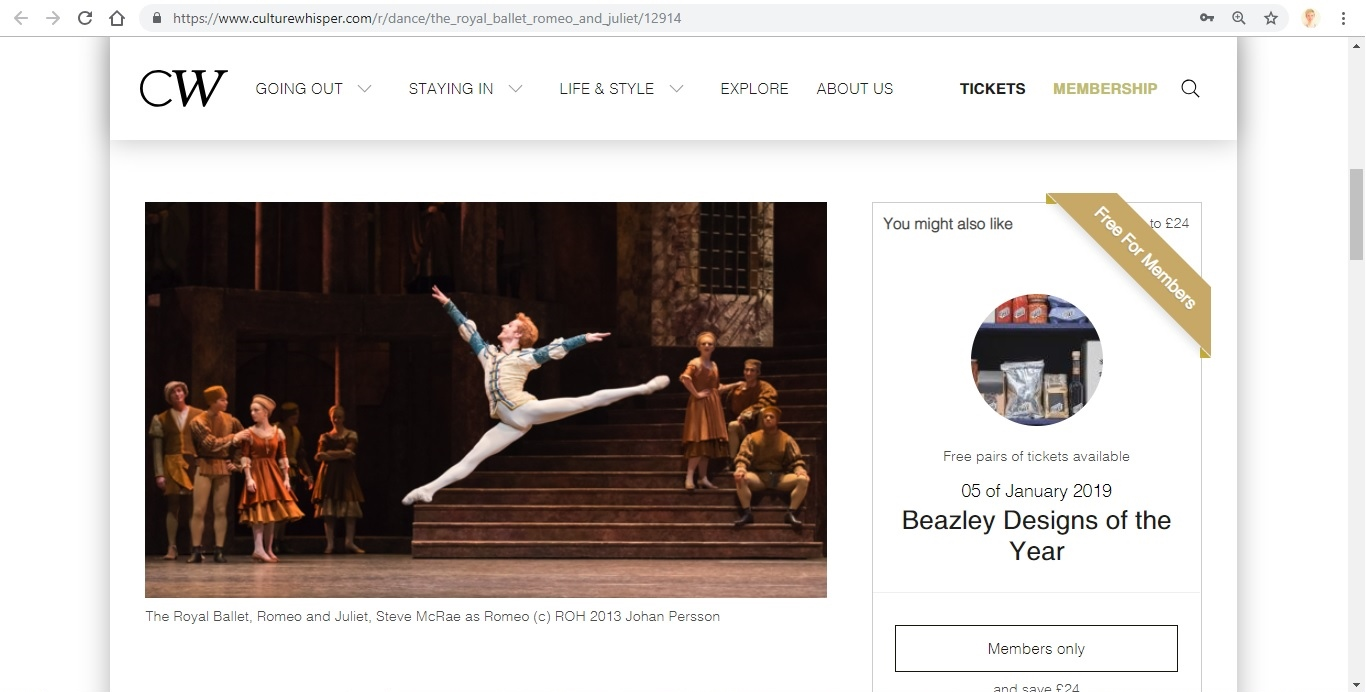 Screenshot of Culture Whisper content by Georgina Butler. Preview of The Royal Ballet: Romeo and Juliet, image 2