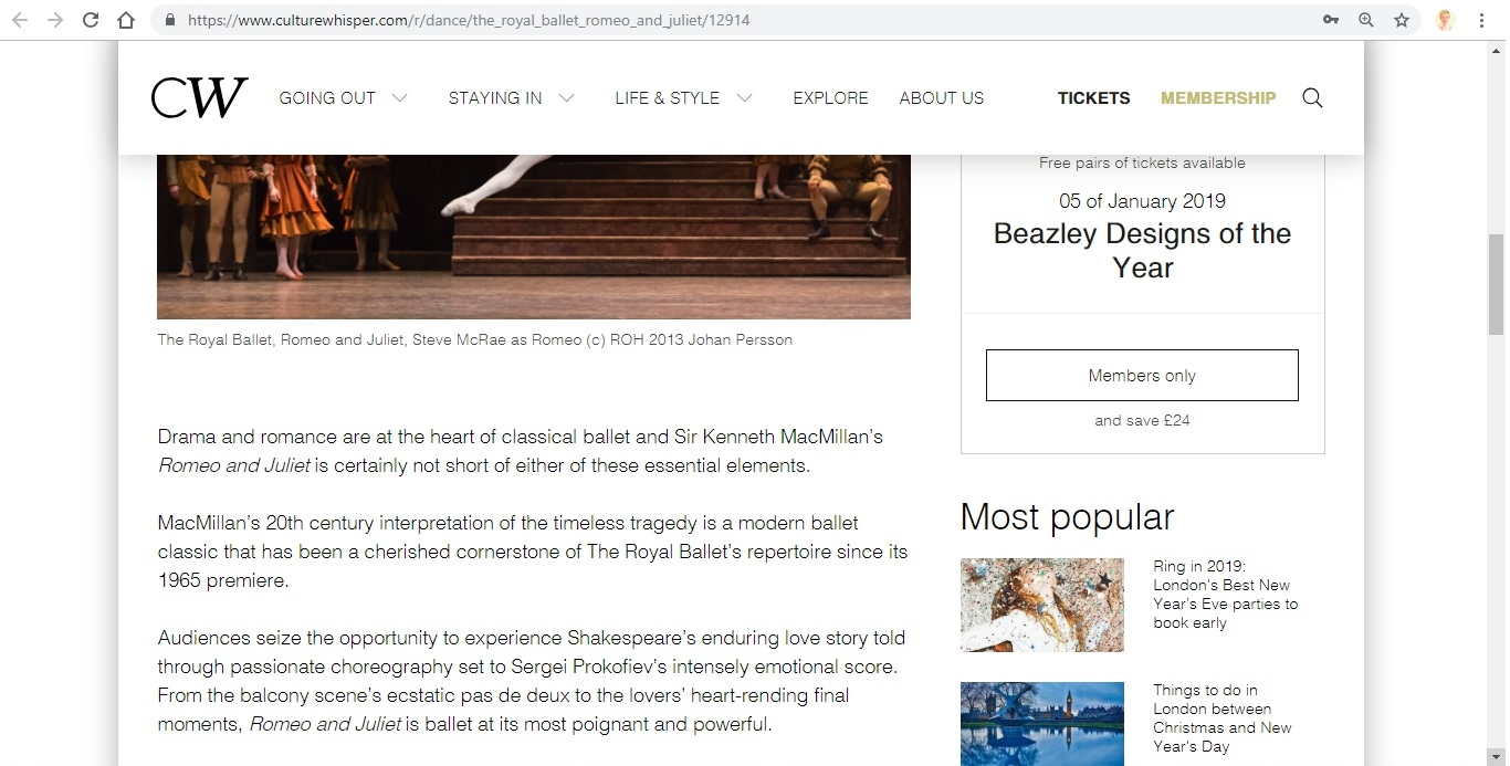 Screenshot of Culture Whisper content by Georgina Butler. Preview of The Royal Ballet: Romeo and Juliet, image 3