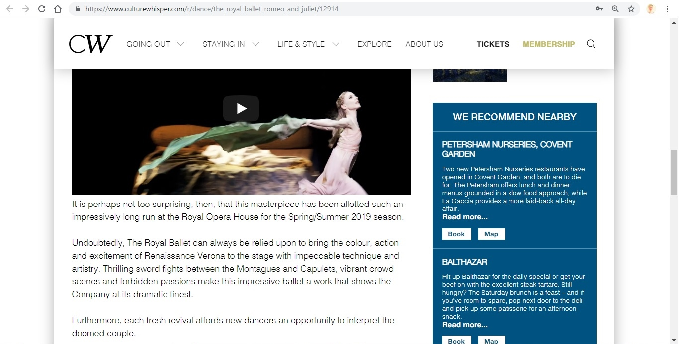 Screenshot of Culture Whisper content by Georgina Butler. Preview of The Royal Ballet: Romeo and Juliet, image 4