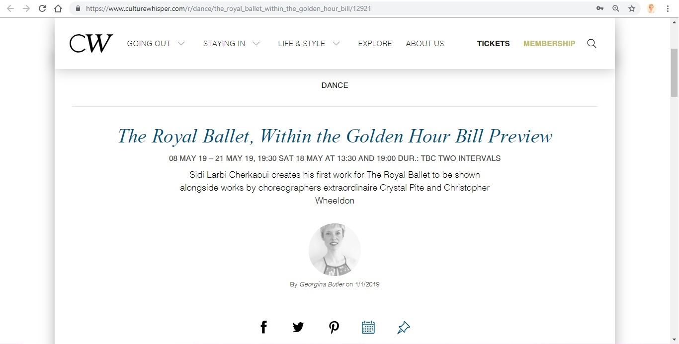 Screenshot of Culture Whisper content by Georgina Butler. Preview of The Royal Ballet: Within the Golden Hour Triple Bill, image 1