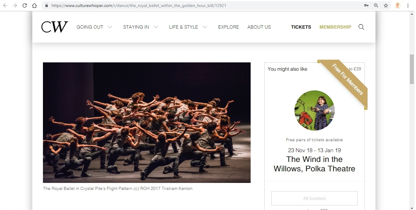 Screenshot of Culture Whisper content by Georgina Butler. Preview of The Royal Ballet: Within the Golden Hour Triple Bill, image 2
