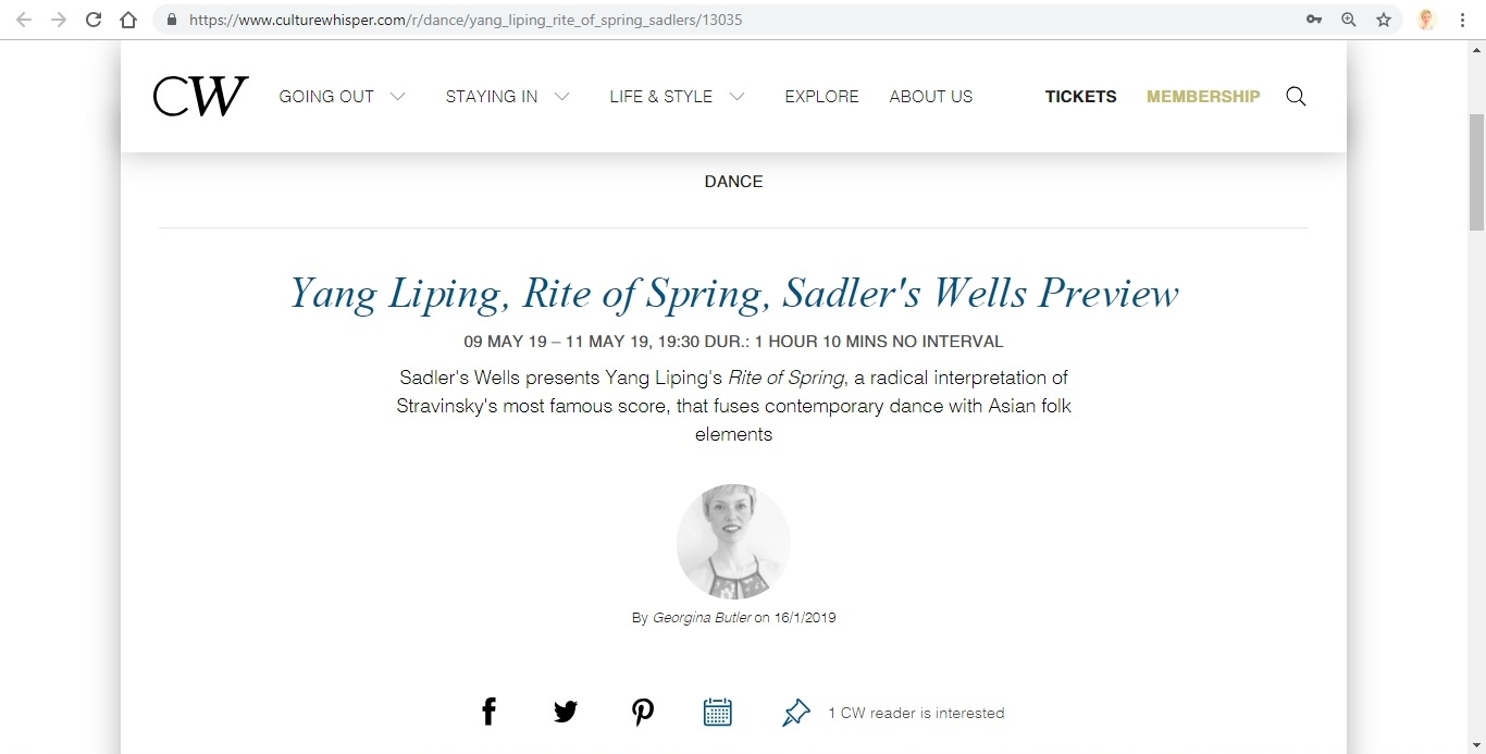 Screenshot of Culture Whisper content by Georgina Butler. Preview of Yang Liping: Rite of Spring, image 1