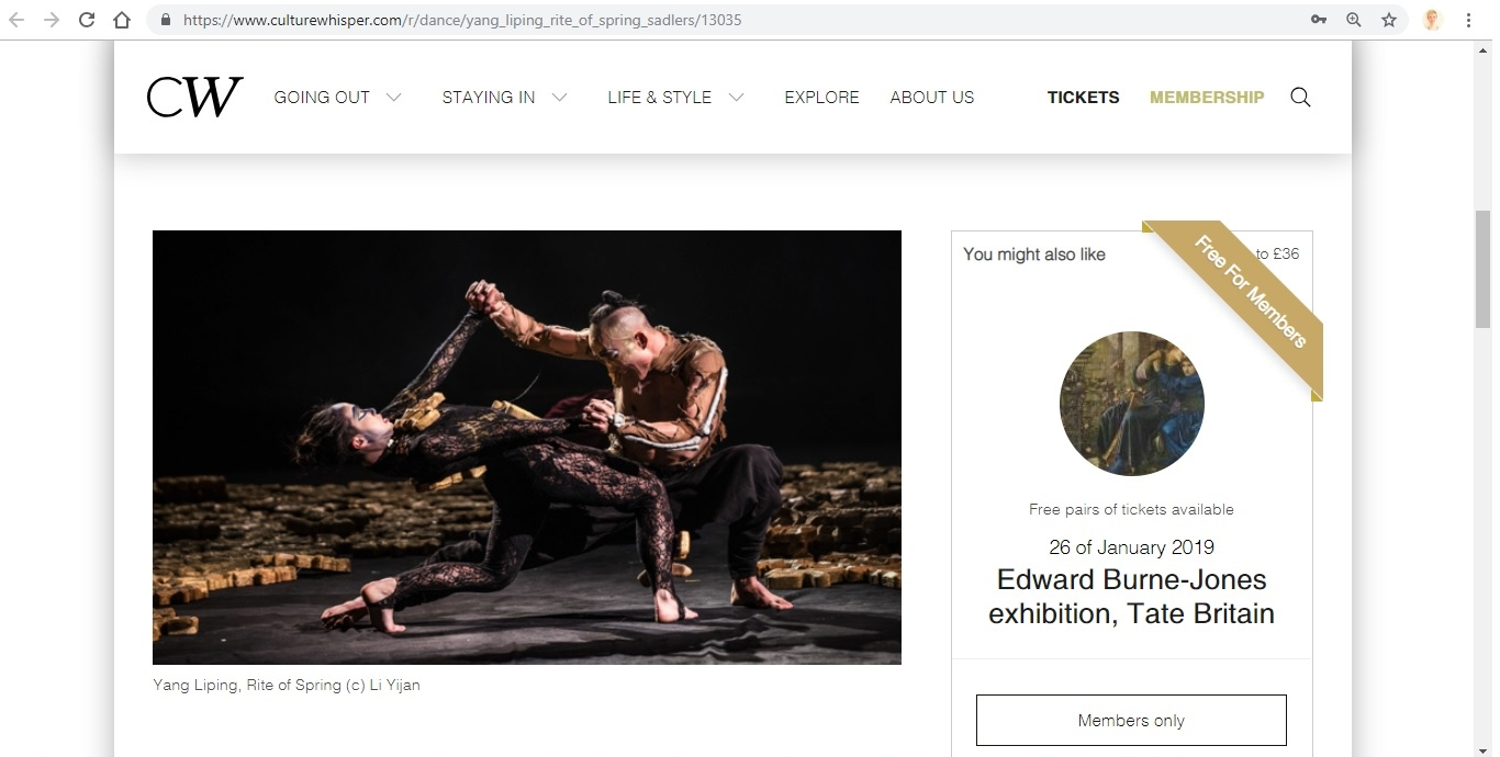 Screenshot of Culture Whisper content by Georgina Butler. Preview of Yang Liping: Rite of Spring, image 2