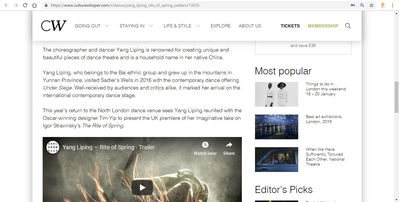 Screenshot of Culture Whisper content by Georgina Butler. Preview of Yang Liping: Rite of Spring, image 3
