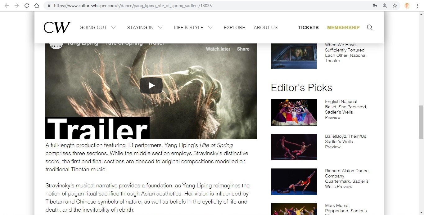 Screenshot of Culture Whisper content by Georgina Butler. Preview of Yang Liping: Rite of Spring, image 4