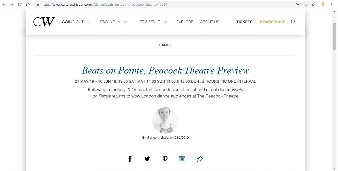 Screenshot of Culture Whisper content by Georgina Butler. Preview of Beats on Pointe, image 1