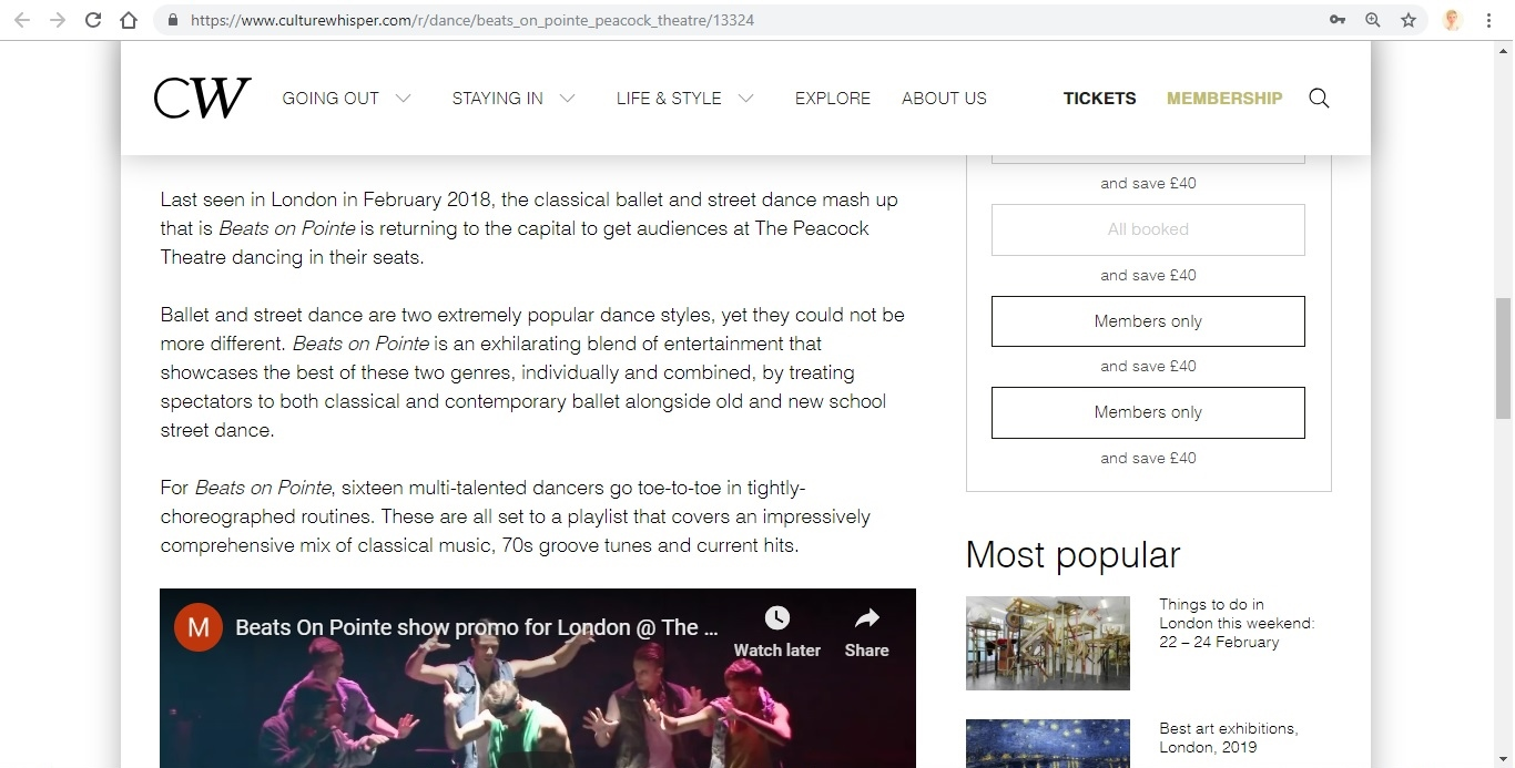 Screenshot of Culture Whisper content by Georgina Butler. Preview of Beats on Pointe, image 3