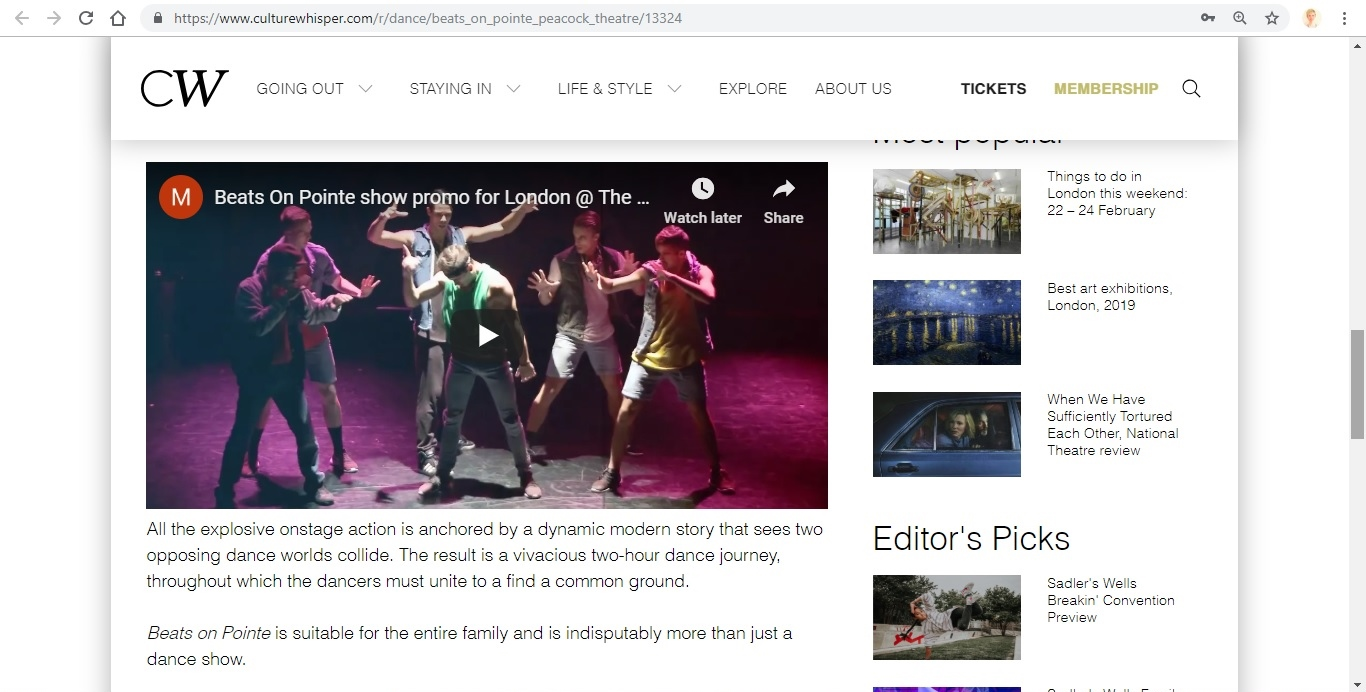 Screenshot of Culture Whisper content by Georgina Butler. Preview of Beats on Pointe, image 4