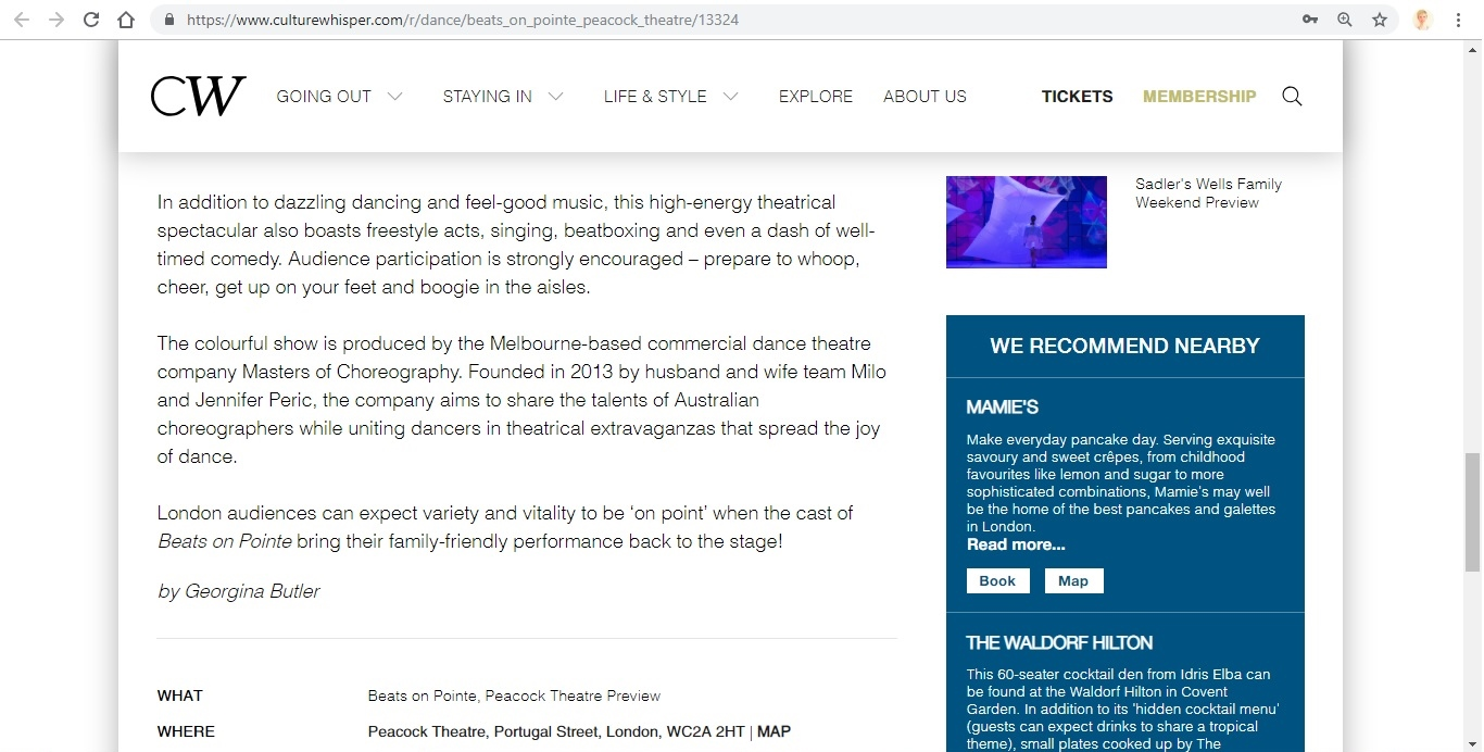 Screenshot of Culture Whisper content by Georgina Butler. Preview of Beats on Pointe, image 5