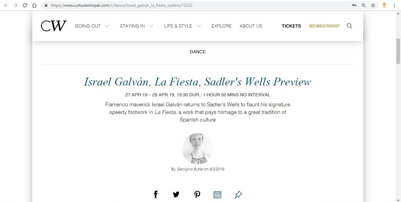 Screenshot of Culture Whisper content by Georgina Butler. Preview of Israel Galván: La Fiesta, image 1