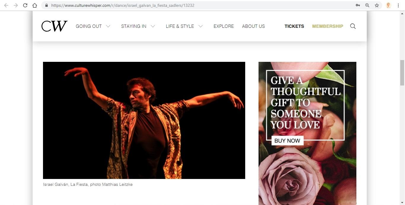 Screenshot of Culture Whisper content by Georgina Butler. Preview of Israel Galván: La Fiesta, image 2