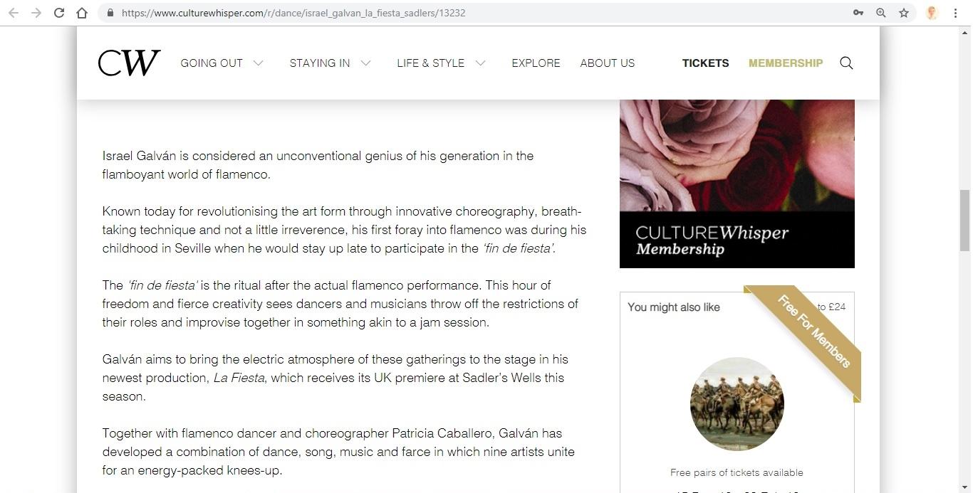Screenshot of Culture Whisper content by Georgina Butler. Preview of Israel Galván: La Fiesta, image 3