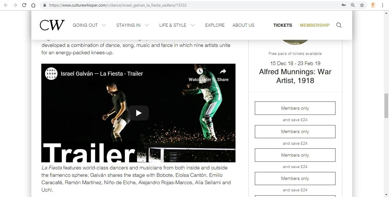 Screenshot of Culture Whisper content by Georgina Butler. Preview of Israel Galván: La Fiesta, image 4