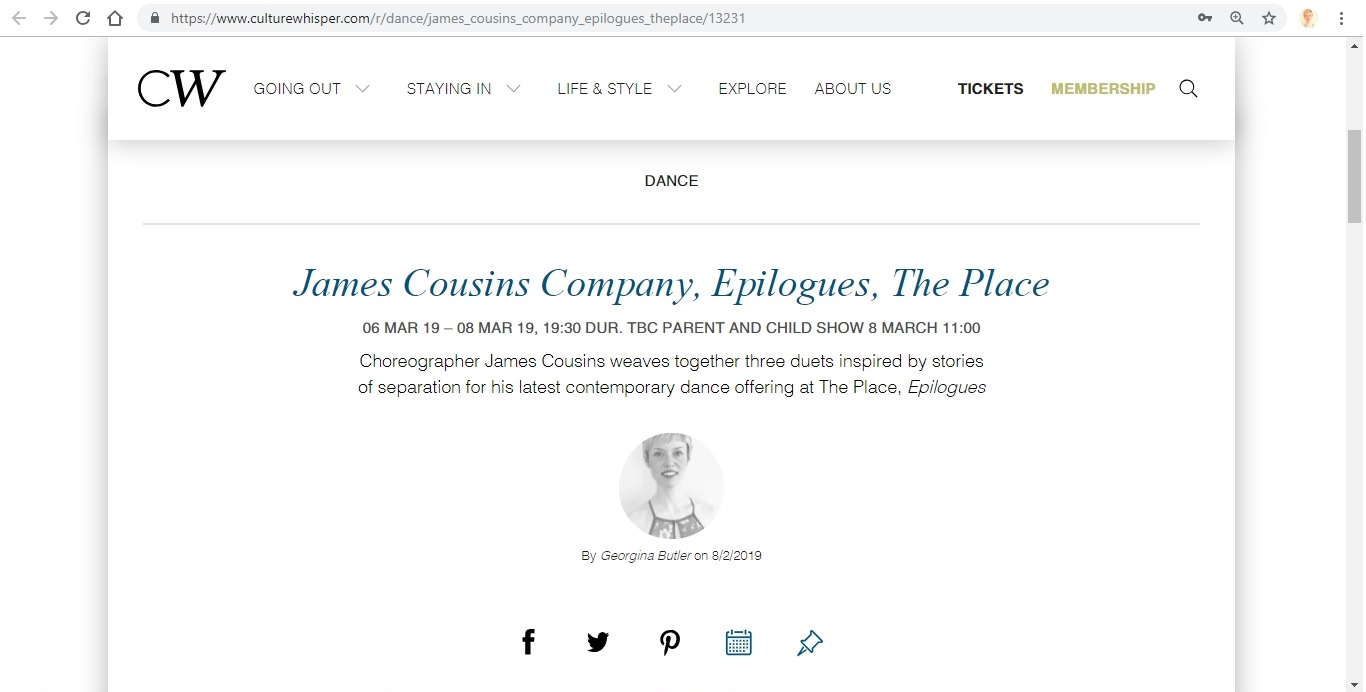 Screenshot of Culture Whisper content by Georgina Butler. Preview of James Cousins: Epilogues, image 1