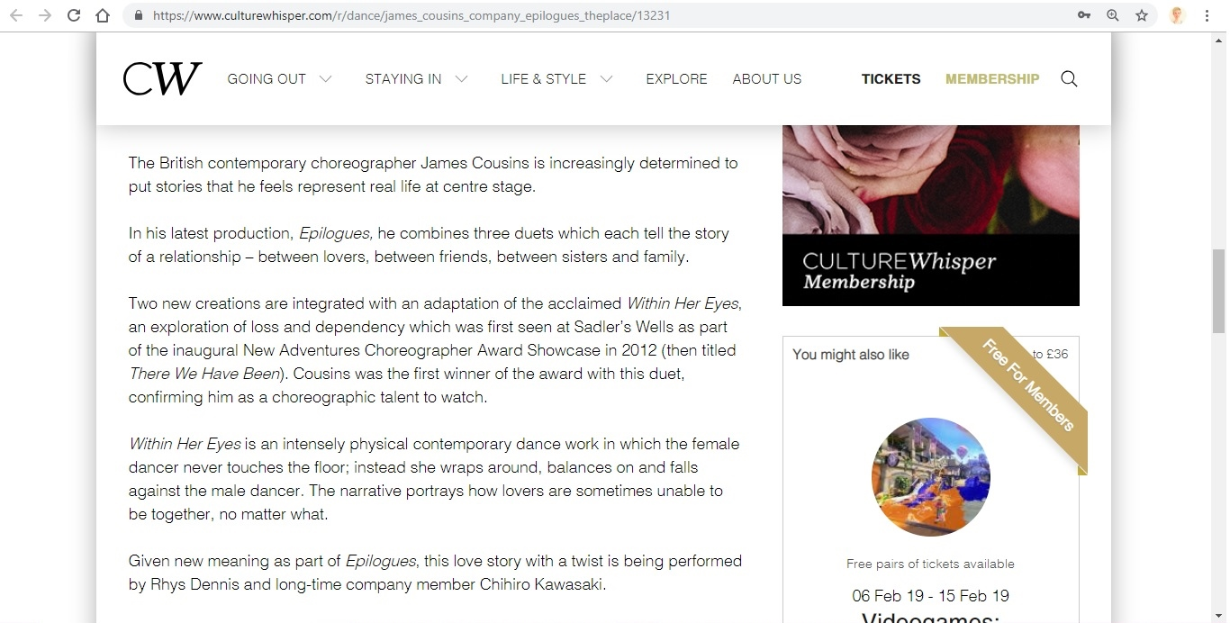 Screenshot of Culture Whisper content by Georgina Butler. Preview of James Cousins: Epilogues, image 3