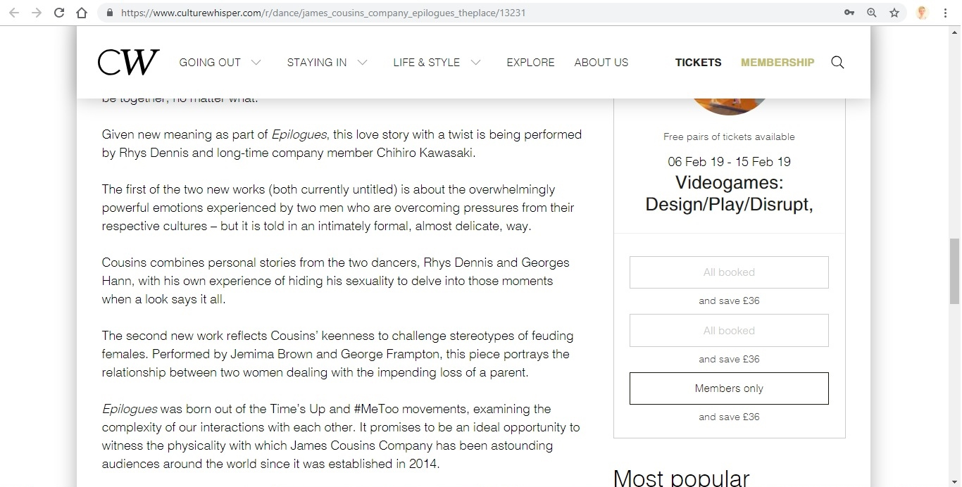 Screenshot of Culture Whisper content by Georgina Butler. Preview of James Cousins: Epilogues, image 4