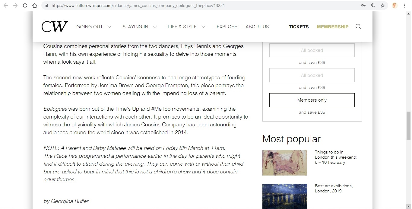 Screenshot of Culture Whisper content by Georgina Butler. Preview of James Cousins: Epilogues, image 5