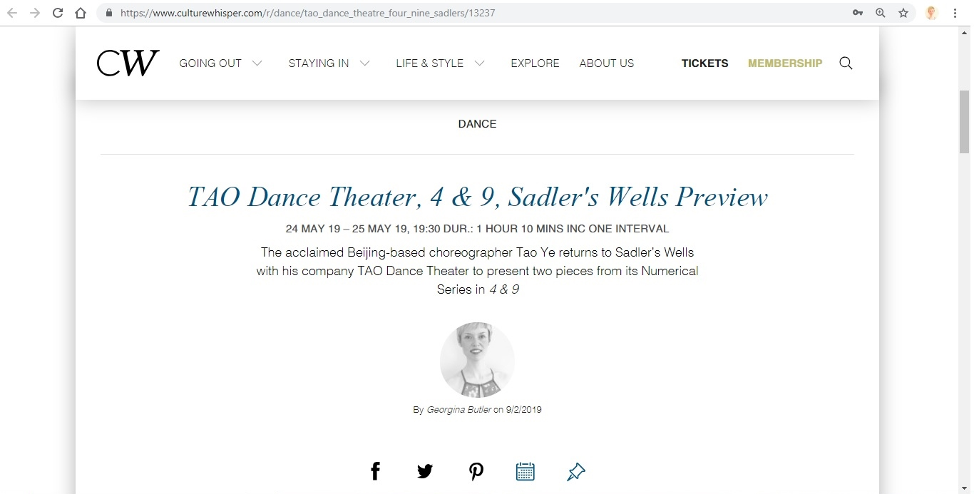 Culture Whisper - TAO Dance Theater, 4 & 9, 1